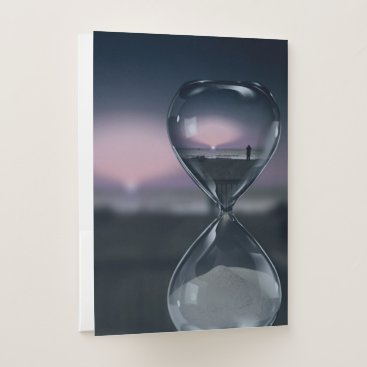 Poignant Sands Of Time Hourglass Sunset On Beach Pocket Folder