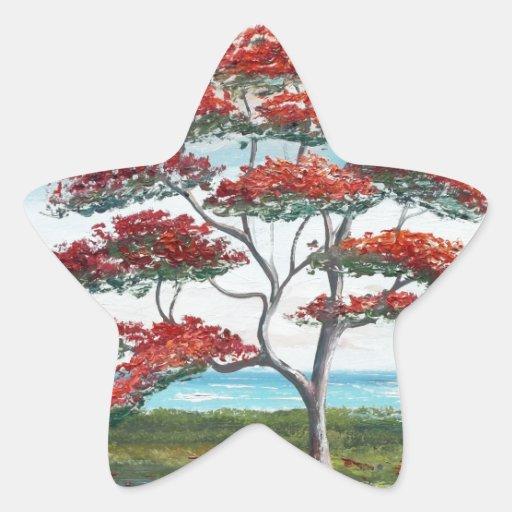 Poinciana real y palmera pegatina en forma de estrella