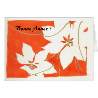 Poinsetia Bonne Année Greeting Cards