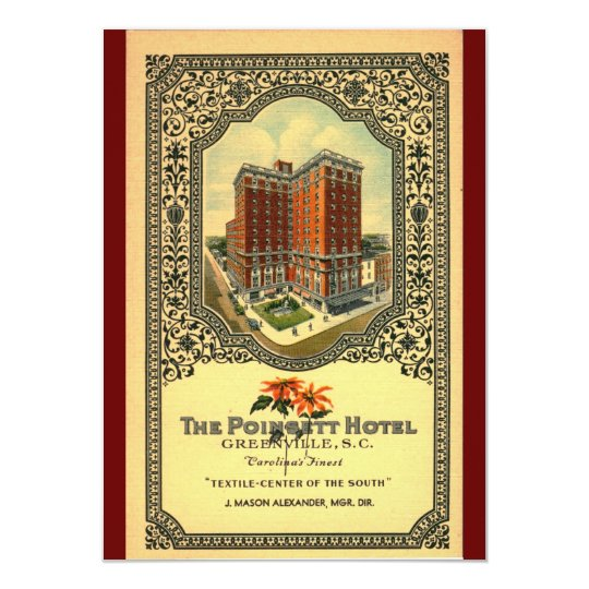 Poinsett Hotel Greenville SC Vintage Card