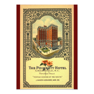 Poinsett Hotel Greenville SC Vintage 4.5x6.25 Paper Invitation Card