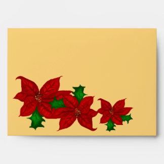 Poinsetta Bouquet Christmas Envelope