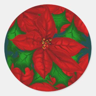 Poinsetta Christmas Sticker