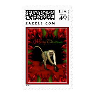 poinsetta monkey 2 postage stamps