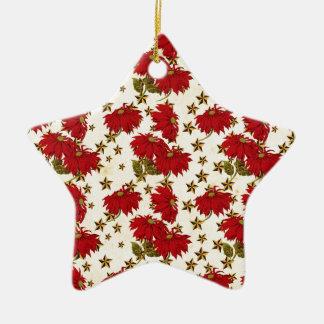 Poinsetta pattern ceramic ornament