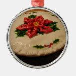 Poinsetta Pie I Round Metal Christmas Ornament