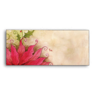 Poinsettia and Holly #10 Envelope