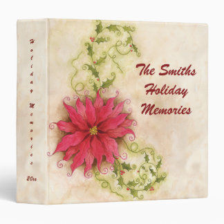 """Poinsettia and Holly 1.5"""" Photo Binder"""