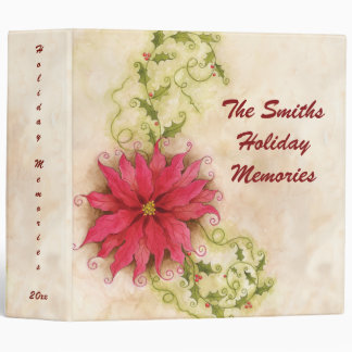 """Poinsettia and Holly 2"""" Photo Binder"""