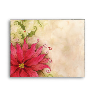 Poinsettia and Holly A2 Notecard Envelope