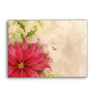 Poinsettia and Holly A6 Envelope