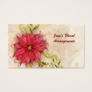 Poinsettia and Holly Business Card