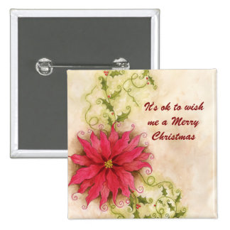 Poinsettia and Holly Christmas Button