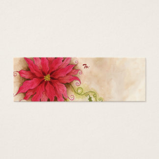 Poinsettia and Holly Gift Tag