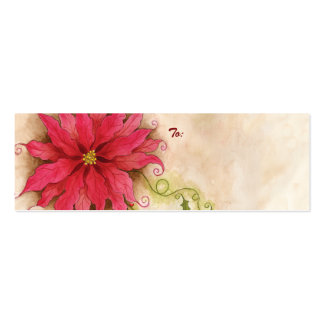 Poinsettia and Holly Gift Tag Business Cards