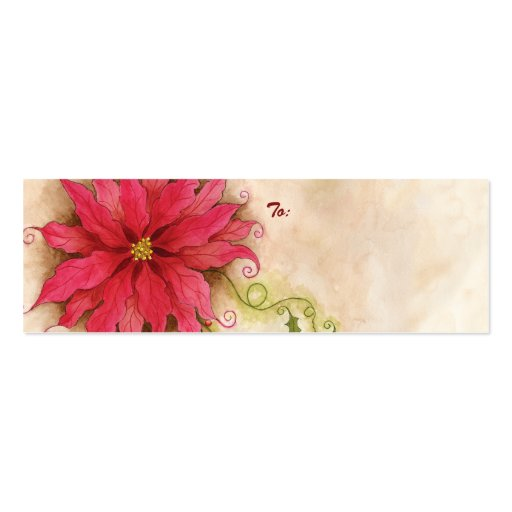 Poinsettia and Holly Gift Tag Double-Sided Mini Business Cards (Pack Of 20)