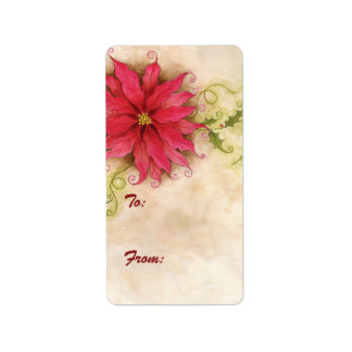 Poinsettia and Holly Gift Tag Label