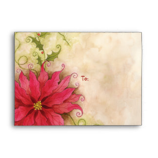 Poinsettia and Holly Greeting Envelope