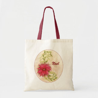 Poinsettia and Holly Tote Bag