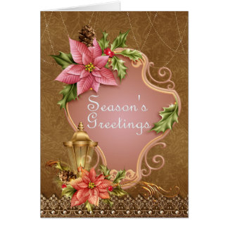 Poinsettia and Lamp Holiday Greetings Card