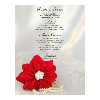 Poinsettia and Pearls Winter Wedding Menu Flyers