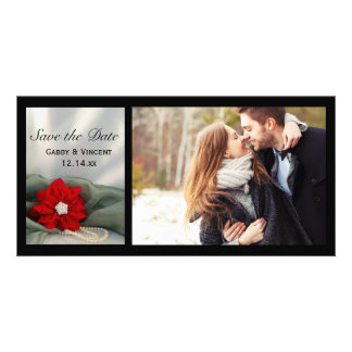 Poinsettia and Pearls Winter Wedding Save the Date Card