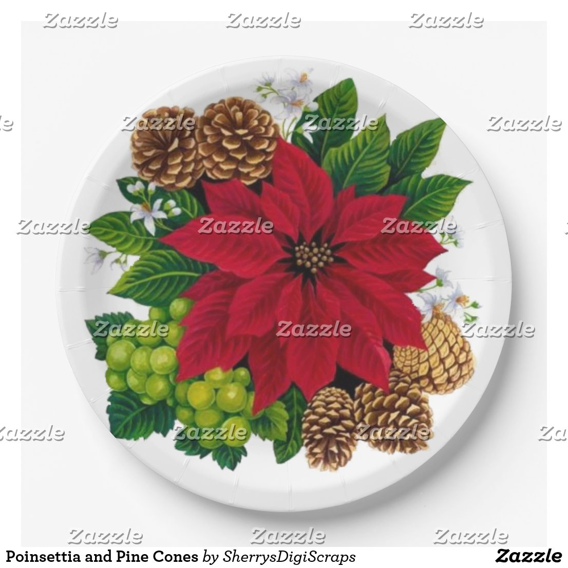 Poinsettia and Pine Cones Paper Plate