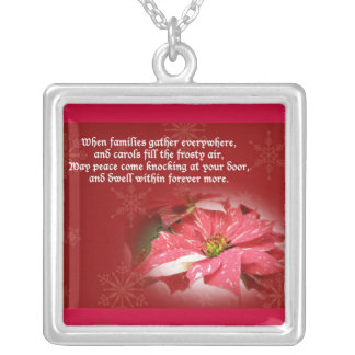 Poinsettia and Poem Christmas Necklace