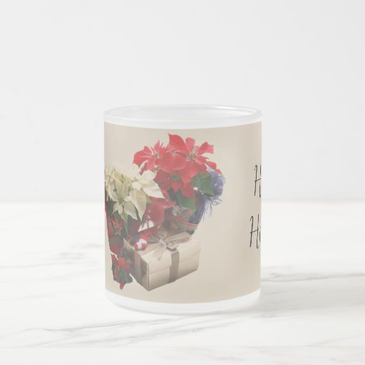 Poinsettia and Present in Stained Glass Coffee Mug