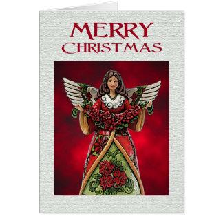Poinsettia Angel Christmas Greeting Card