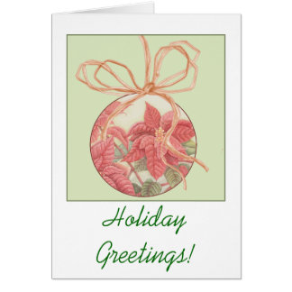 Poinsettia Bauble Postage Card