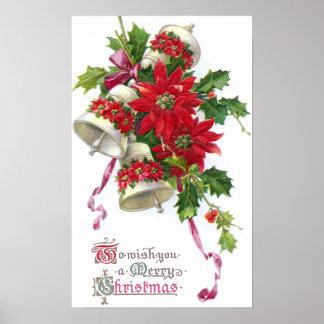 Poinsettia Belces y navidad del vintage del acebo Impresiones