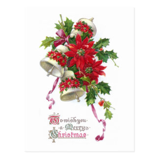 Poinsettia Belces y navidad del vintage del acebo Postales