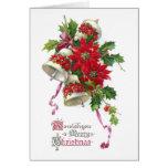 Poinsettia Belces y navidad del vintage del acebo Felicitaciones