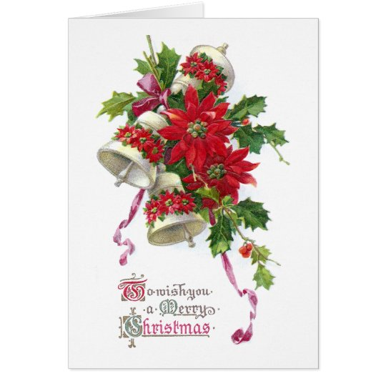 Poinsettia Bells and Holly Vintage Christmas Card