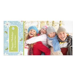Poinsettia  |  Blue Holiday Photo Cards