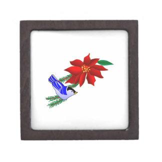 Poinsettia & Bluebird Premium Trinket Box