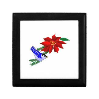 Poinsettia & Bluebird Trinket Box