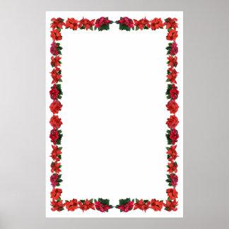 Poinsettia Border on Blank Customizabl Background Poster