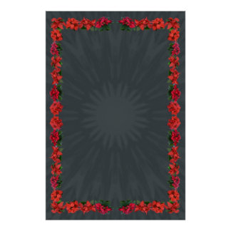 Poinsettia Border on Gray Radial Background Posters
