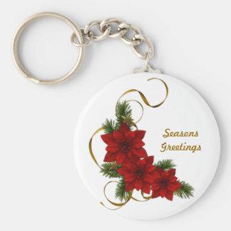 Poinsettia Christmas Basic Keychain