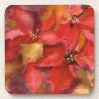 poinsettia, Christmas coaster, floral watercolor Coaster