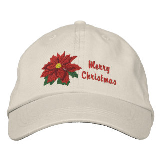 Poinsettia Christmas Embroidered Baseball Hat