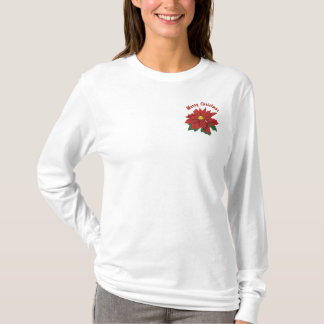 Poinsettia Christmas Embroidered Long Sleeve T-Shirt