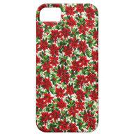 Poinsettia Christmas Fabric iPhone 5 Case