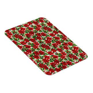 Poinsettia Christmas Fabric Flexible Magnets