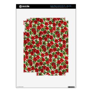 Poinsettia Christmas Fabric Skins For iPad 3