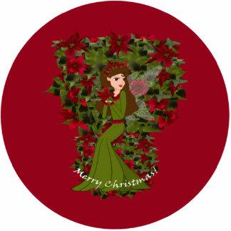 Poinsettia Christmas Faery Ornament