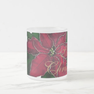 Poinsettia Christmas Frosted Glass Coffee Mug