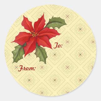 Poinsettia Christmas gold Round Stickers